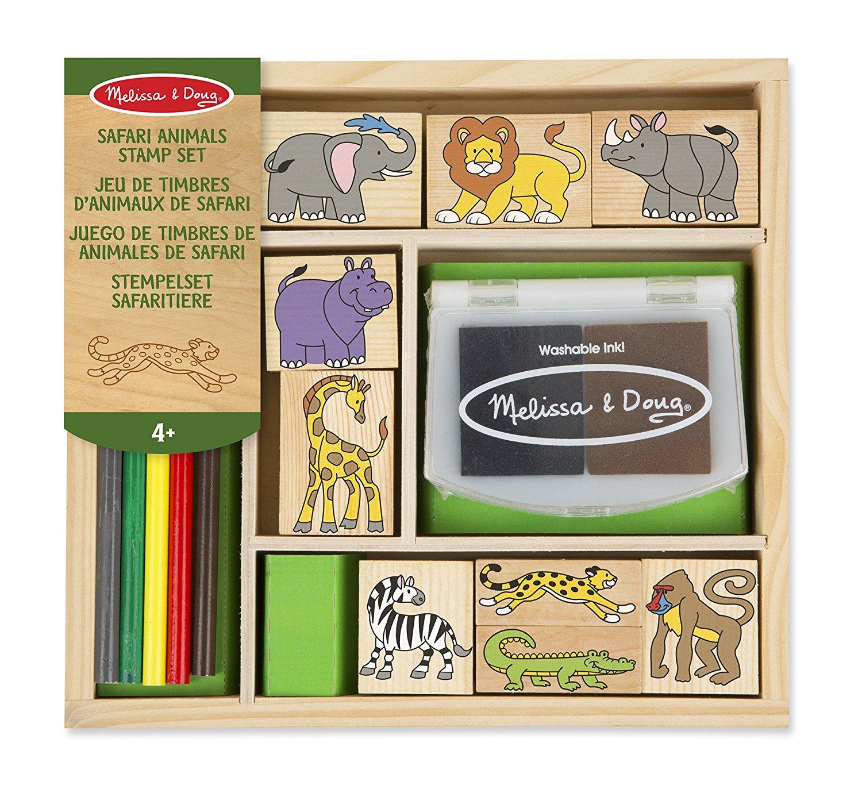 Melissa Doug Wooden Stamp Set Safari Animals