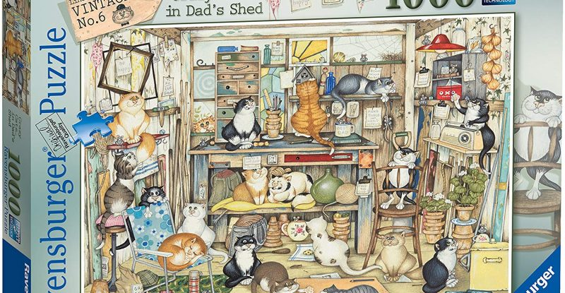 Ravensburger Vintage Crazy Cats Dad's Shed 1000pc Jigsaw